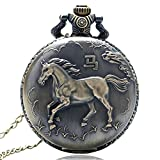 JTWMY Bronzo Antico Zodiaco Cinese Serie Design Orologio da Tasca al Quarzo Orologio da Polso Collana con Ciondolo Orologio FOB Catena-Cavallo