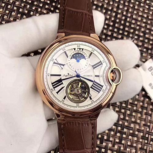 GFDSA Automatische horloges Luxe merk Automatisch mechanisch herenhorloge Blauw Zwart Leer Rose Goud Transparant Maanfasehorloges Tourbillon WitBruin Leer Wit