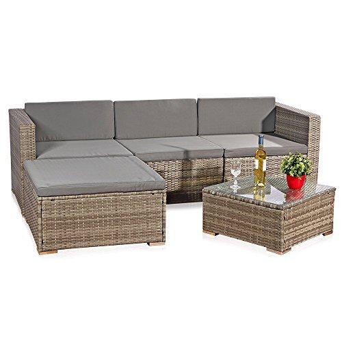Melko Rattan Gartenmöbel Set – Couch mit Tisch, Hocker und Stuhl, aus Polyrattan, wetterfest und robust, Ecksofa Grau für Balkon, Garten oder Terrasse
