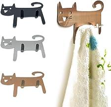 DMFSHI Zelfklevende haak, muur hanger haken, 3 stuks roestvrij staal schattige kat hanger haak voor het versieren van keuk...