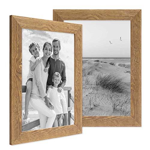 Photolini Set di 2 cornici per Foto 21x30 cm Sabbia Rustico Rovere Naturale in Legno Massiccio con lastra in Vetro e Accessori Inclusi/portafoto