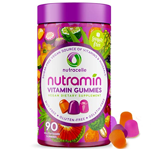 NUTRAMIN Daily Vegan Keto Multivitamin Gummies Vitamin C, D3, and Zinc for Immunity, Plant-Based, Sugar-Free, Nut-Free, Gluten-Free, with Biotin, Vitamin A, B, B6, B12 & More 90 Count, 45 Day Suppy from Nutracelle