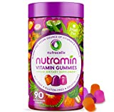 NUTRAMIN Daily Vegan Keto Multivitamin Gummies Vitamin C, D3, and Zinc for Immunity, Plant-Based, Sugar-Free, Nut-Free, Gluten-Free, with Biotin, Vitamin A, B, B6, B12 & More 90 Count, 45 Day Suppy