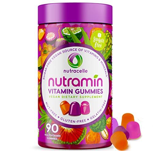 NUTRAMIN Daily Vegan Keto Multivitamin Gummies Vitamin C, D3, and Zinc for Immunity, Plant-Based, Sugar-Free, Nut-Free, Gluten-Free, with Biotin, Vitamin A, B, B6, B12 & More 90 Count, 45 Day Suppy