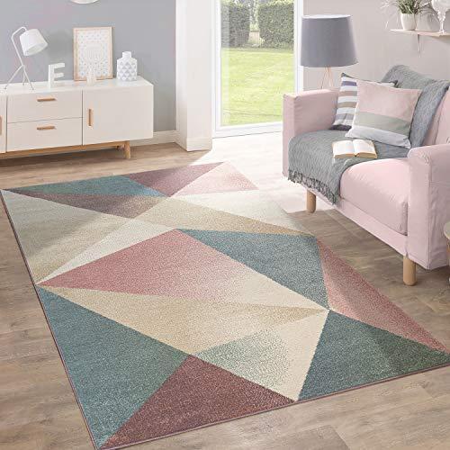 Alfombra Pelo Corto Diseño Geométrico Tendencia Inspiración Pastel, tamaño:160x220 cm