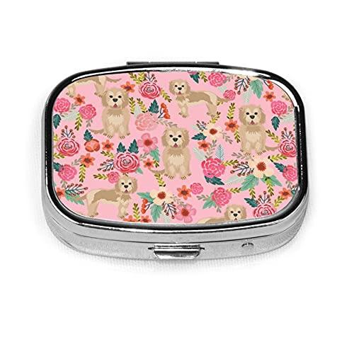 Cockapoo, contenitore quadrato per pillole per cani e fiori, organizer da viaggio per pillole e vitamine