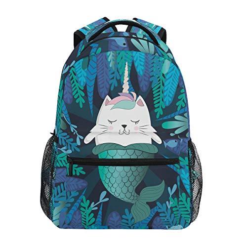 HaJie Backpack Leaves Cat Unicorn Mermaid Animal Travel Daypack Large Capacity Rucksack Casual School Book Bag Shoulder Straps Computer Laptop Bag for Womens Mens Teenage Girls Boys