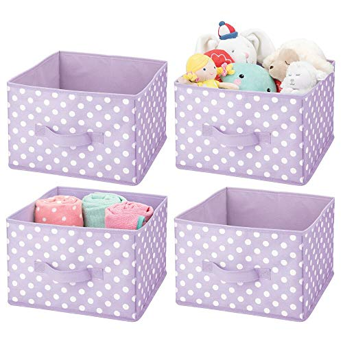 mDesign Soft Fabric Closet Storage Organizer Holder Box Bin - Attached Handle, Open Top, for Child/Kids Bedroom, Nursery, Toy Room - Fun Polka Dot Print, 4 Pack - Light Purple/White