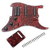 JJSPP Red 3-caply prewired SSH PickGuard Anti-Scratch Plate Guardia Cargado con Pastillas y humbuckers para Guitarras eléctricas de Strat
