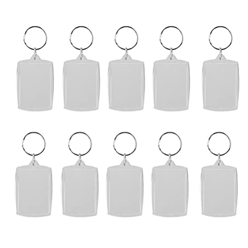 5X Clear Acrylic Blank Photo Picture Frame Key Ring Keychain Keyring Gift。RDR