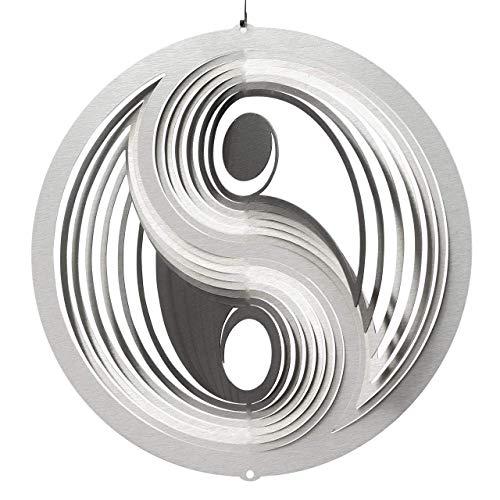 CIM Edelstahl Windspiel - Yin Yang 250 - inkl. Kugellagerwirbel, Haken und Nylonschnur - attraktive Edelstahl-Dekoration zum Aufhängen