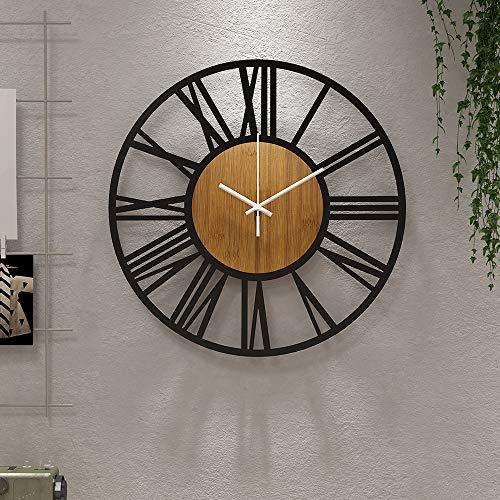 Runde Wanduhr aus Holz, 36 cm, schwarz, für Wohnzimmer-Dekoration, römische Ziffern, geräuschlos, nicht tickend, hängende Uhren für Zuhause, Garten, Büro, Café-Dekoration