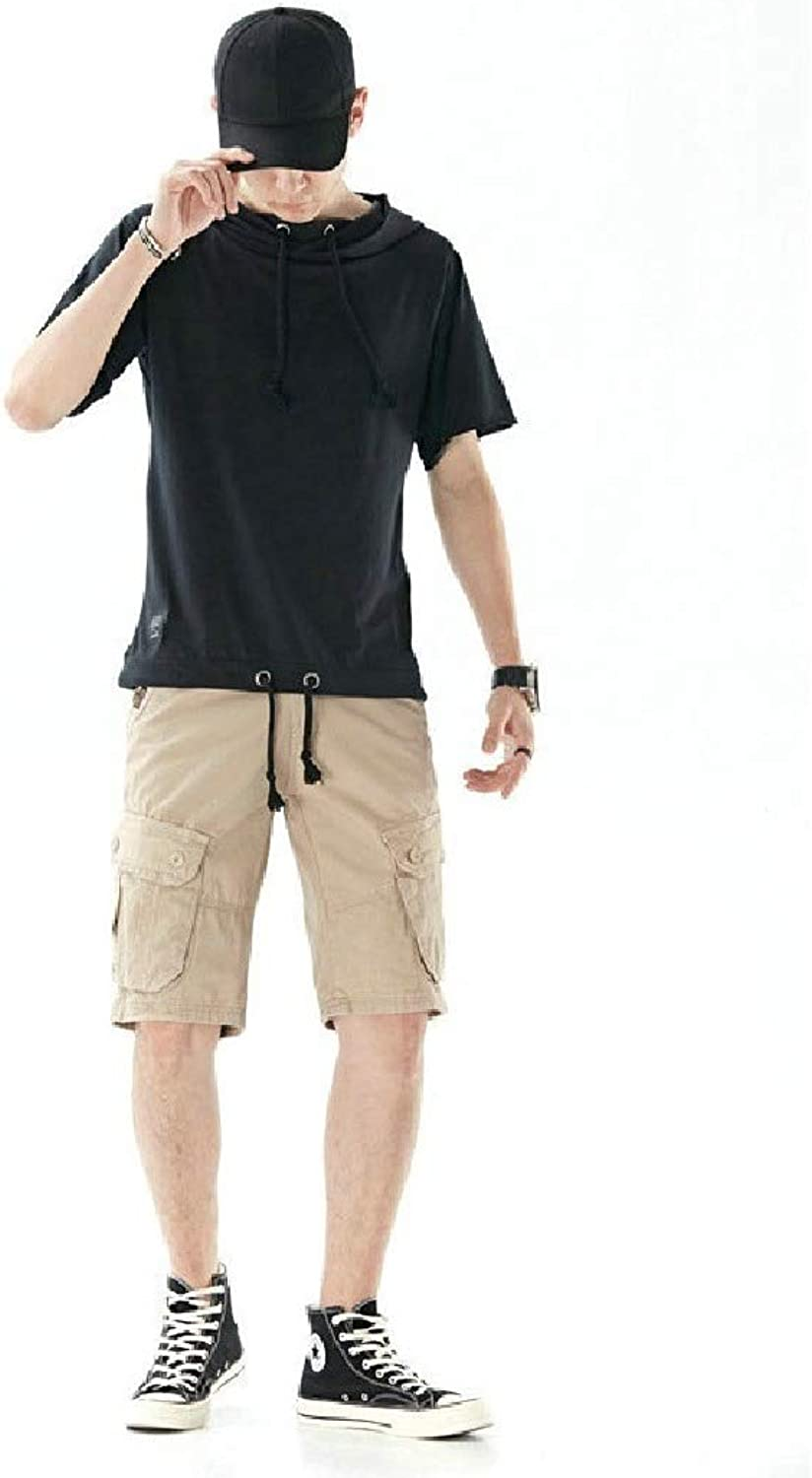 Coolhere Mens Cotton Relaxed-Fit with Hooded Outdoor Leisure T-Shirt Shorts Sets