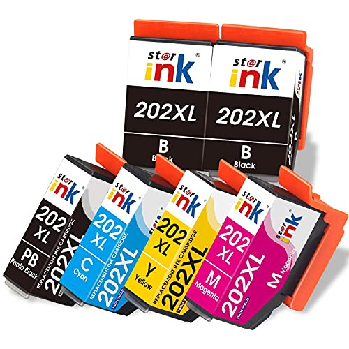 Starink Kompatibel für Epson 202 XL 202XL Druckerpatronen für Epson Expression Premium XP6000 XP6005 XP 6000 XP 6005 XP-6000 XP-6005 Patronen(2Schwarz,FotoSchwarz,Cyan,Magenta,Gelb) 6 Pack