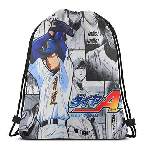 Chezaskee Drawstring Bags Classic Men and Women Sports Backpack Storage Bag Travel Beach Bag - Diamond No Ace Sawamura Eijun