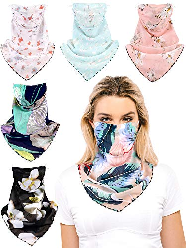 SATINIOR 6 Pieces Sun Protection Face Covers Balaclava Breathable Neck Gaiters for Women Dark and Light Floral Colors
