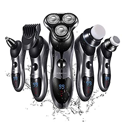 Electric Shaver Razor for Men 5 in 1 Rotary Shavers Beard Trimmer Nose Hair Trimmer Wet&Dry Electric Shavers Men Waterproof USB Fast Charging from ROZIA
