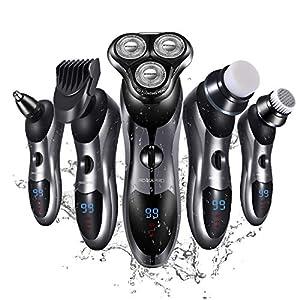 immagine di Roziapro - Rasoio elettrico da uomo 5 in 1, taglia barba, taglia peli asciutti e bagnati, impermeabile, ricaricabile tramite USB