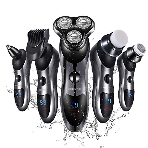Roziapro Elektrorasierer für Männer 5-in-1 Elektro-Bartschneider Nass- und Trockenhaarschneider Elektrohaarschneider Wasserdichter Schnell USB-Wiederaufladbar