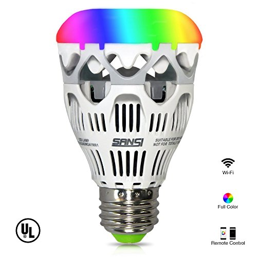 Sansi Smart RGB Light Bulb, Wi-Fi, A19, Dimmable, Group Control and Music Control, Works with iPhone and Android
