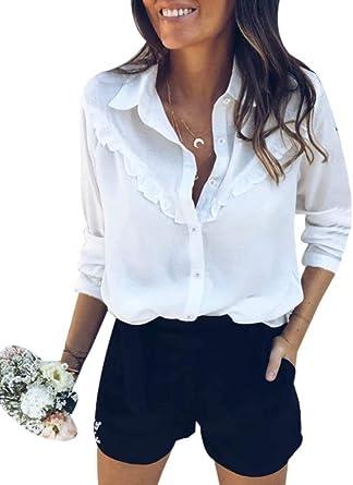 Camisa Mujer Blusa Básica de Manga Larga Vintage Camisa con ...