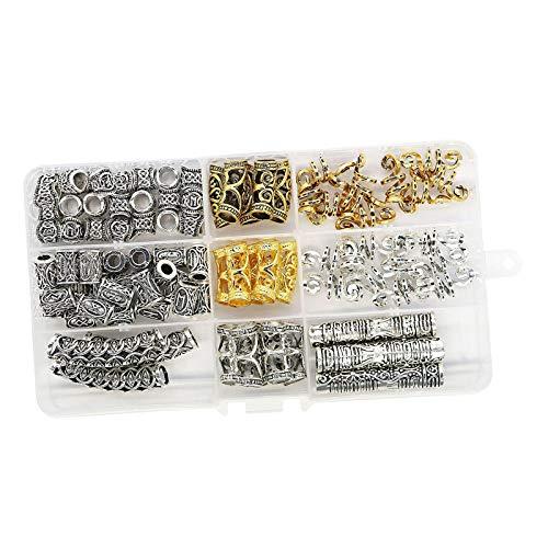 non-brand Beard Beads For Men, Vikings Runes Beads Norse Dreadlock Beads Perlas de Tubo de Pelo,