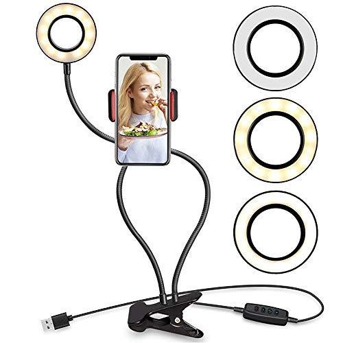Lupovin Ajuste libre Neta retráctil rojo vivo anillo de luz LED de emisión, luz belleza, la luz, el disparador automático, soporte del teléfono móvil, de tres colores lámpara de pie regulable, maquill