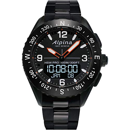 Alpina Men's AlpinerX Fiber Glass Swiss Quartz Sport Watch with Stainless Steel/Titanium Strap, Black, 22 (Model: AL-283LBB5AQ6B)