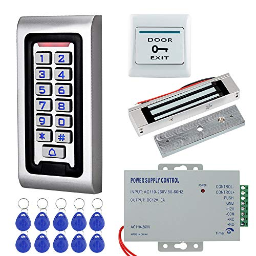 HFeng Door Access Control System Kit IP68 RFID Keypad Waterproof Outdoor + 180KG/320lbs Electromagnetic Electric Magnetic Lock + DC12V 3A Power Supply + 10pcs Keyfobs Tags Door Entry System