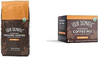 Four Sigmatic Mushroom Ground Coffee, Organic and Fair Trade Coffee with Lions Mane, 12 Oz & Four Sigmatic Mushroom Instan...