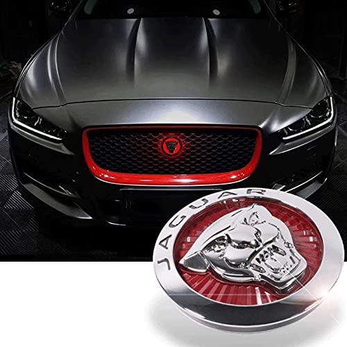 Emblema 3D stemma griglia anteriore cromato ABS logo adesivo – emblema auto con illuminazione a LED per Jaguar XF XE XJ XFL XEL F-PACE rosso-85mm