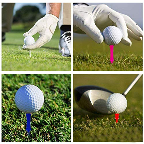 Golf Tees Plastic Castle Unbreakable Same Heights or Mixed Sizes 120 Pcs, Golf Practice Tee for Mats Size 1 1/4 ,1 1/2, 1 3/4, 2, 2 1/4, 2 3/4 Color Blue Yellow Pink Orange White (All 1 1/4'' in Red)