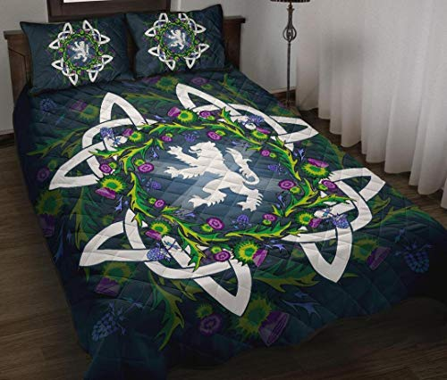 Personalized Scotland Thistle Celtic Quilt, Valentine's Day Gift Quilt Bed St Patricks Day Mothers Fathers Day Birthday Girls Boys Gifts from Mom Mommy Mother Dad Daddy Father Grandma Grandpa