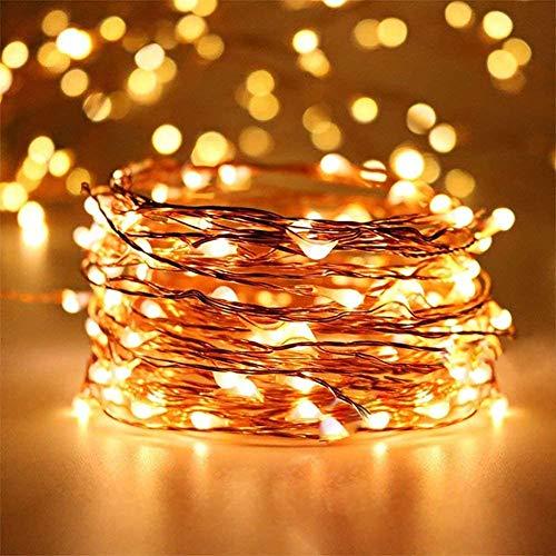 Ventdest Guirnalda Luces Pilas, Luces LED Pilas 5M 50LED, Cadena de Luces LED para Navidad, Decoración Interior, Bodas, Dormitorio, Hogar, Fiesta (Blanco Cálido, Alambre de Cobre)