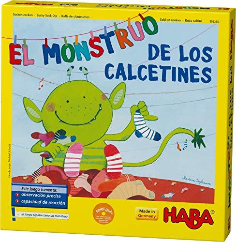 Haba Monstruo de los Calcetines-ESP (302255), juego de búsqueda 2-6 jugadores de 4 a 99 años, reacción rápida y consejos para el desarrollo del lenguaje, para toda la familia, multicolor