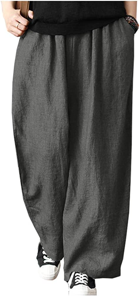 SCOFEEL Women's Cotton Linen Pants Wide Leg Oversized Harem Casual Loose Trousers Pants