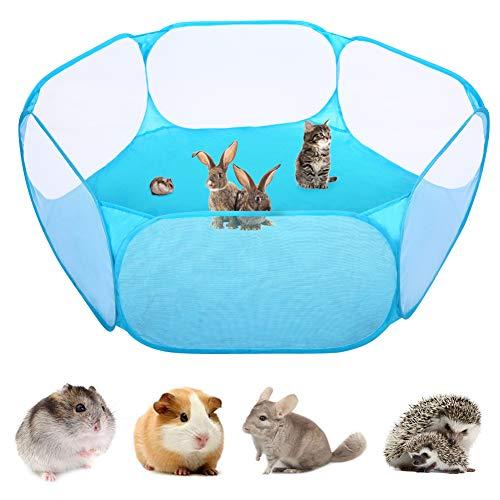 Kuoser Kleintier-Laufstall mit Standfuß, atmungsaktiv & transparent, Haustierkäfig-Zelt für Indoor/Outdoor, faltbarer Übungszaun für Meerschweinchen, Kaninchen, Hamster, Chinchillas, Igel