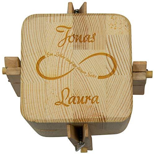 Beziehungskiste Unendlichkeitssymbol mit Gravur - zu zweit öffnen - gravierte Verpackung für Geldgeschenke für das Brautpaar - Hochzeitsgeschenke Trickkiste personalisiert mit Namen