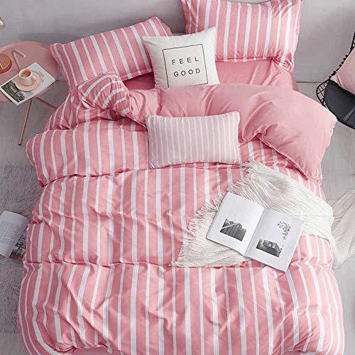 Raaooaceo® 3D-Tröster-Sets in voller Größe für jugendliche Kinder, Tröster-Bettwäschesets 3-teilig, 1 Tröster, 2 Kissenbezüge(Voll,Einfache rosa Streifen Tröster-Sets )Super King Size 260 x 230 cm -K
