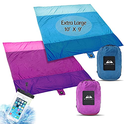 WELLAX Sandfree Beach Blanket - Huge Ground Cover 9' x 10' for 7 Adults - Best Sand Proof Picnic Mat for Travel, Camping, Hiking and Music Festivals - Durable Tarp with Corner Pockets