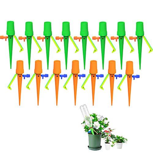 Riego Automatico Macetas, 15 Piezas Goteros Para Riego Plantas, riego macetas vacaciones con Control de Presión de Agua Estable y Interruptor de Válvula