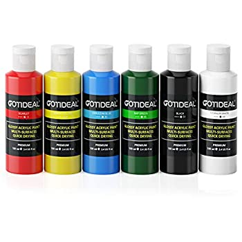 Gotideal Craft Acrylic Paint Set,6 Primary Colors( 100ml 3.4 oz  Rich Pigments Non-Toxic Washable Professional Paint for Pouring on Canvas Rocks Ceramic Fabric Leather Ideal for Artist Adults