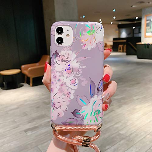 Xyamzhnn Funda telefónica para iPhone 11 Pro Patrón láser Soft TPU Shell Protector con Correa de Hombro (Color : Gray Background Pink Flower)