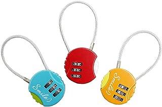 NINIMA Multipurpose Steel Wire Compatible Travel Luggage Locks Gym Locker Inspection Indicator Easy Read Dials Digit Combination Steel Padlocks 3 Locks in Package