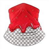 Bufanda de Cuello Patrón de Mermelada sin Costuras de Fresa Goteo Cuello Rojo Polaina Calentador de Invierno Abrigo para la Cabeza
