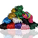 Ewparts 12 paquetes 2.5mm Satin / Rattail cuerda de seda para collar pulsera cordón de reborde para joyería haciendo accesorios, 10 metros cada uno