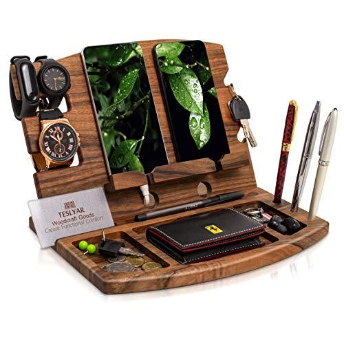 TESLYAR Natural Walnut Wood Phone Docking Station Phone Key Holder Wallet Stand...