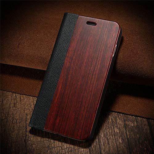 JIAXIA Telefoonhoesje Bamboe natuurlijke houten hoesje voor iPhone XR 7 8 plus PU lederen portemonnee hoesje voor iPhone 11 Pro X XS Max 6 6S plus flip cover, palissander, voor 6 plus 6s plus