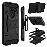 Case Compatible with LG G8 ThinQ/LG G8, Zenic Heavy Duty Shockproof Hybrid Full-Body Protection Case with Swivel Belt Clip and Kickstand for LG G8 ThinQ/LG G8(Black)