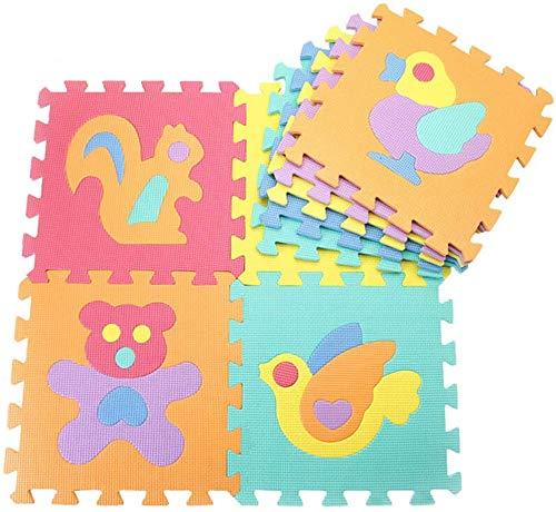 N / A Kinderteppich Spielmatte Lernteppich Puzzlematte 10 Stück Schaumstoffmatte Kinderteppich Zahlen Alphabet Tier und Bunt Matte 30x30 cm